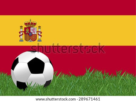 soccer on the football field with Spain flag background, Spain is the participating team in football tournament at France on 2016, this design for template of football match