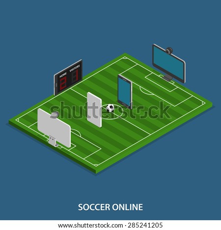 Soccer Online Vector Isometric Concept. Soccer Match on Stadium Where Instead of Player are Computer Monitors,  Mobile Phones  and Tablets. - stock vector