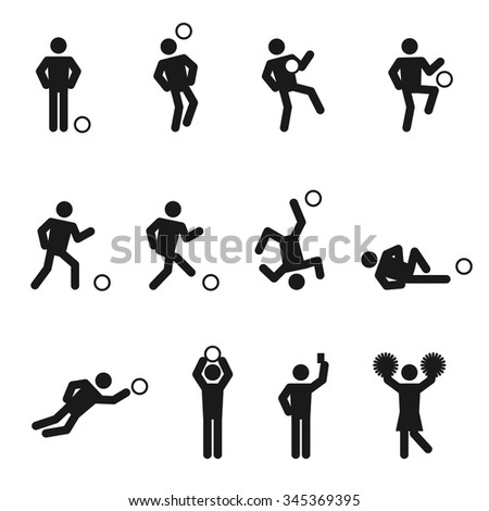 Soccer or football man icons set illustration pictogram black color isolated on white background - stock vector
