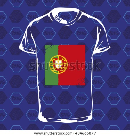 Soccer pattern ball, t-shirt and flag. Hand drawn vector. A soccer ball pattern and a Portugal flag. France euro football championship 2016