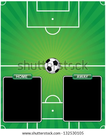 Soccer pitch with home and away tables - stock vector