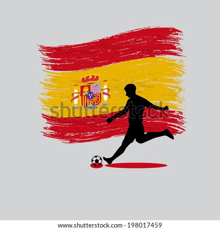 Soccer Player action with Kingdom of Spain flag on background  - stock vector