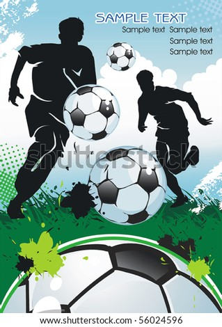 Soccer Player and Ball, design banner. Original Vector illustration sports series. Abstract Classical football poster. - stock vector