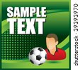 soccer player and ball on green halftone banner template - stock photo