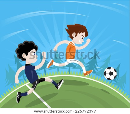 Soccer player anticipating football move going to the ball first. Vector illustration cartoon.  - stock vector