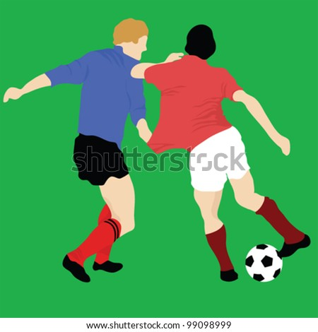 Soccer player attack gate of the opponent, vector illustration - stock vector