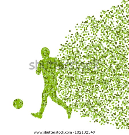 Soccer player ball kick vector background concept made of dots - stock vector
