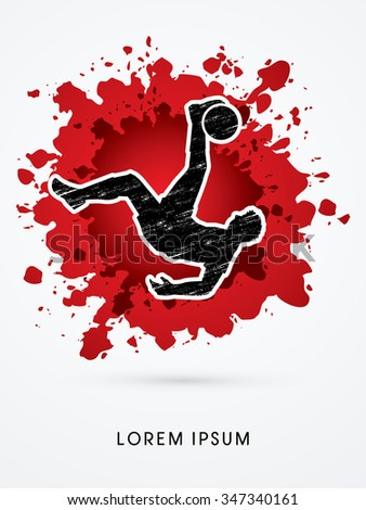 Soccer player hit the ball, Bicycle Kick designed on splash blood background graphic vector. - stock vector