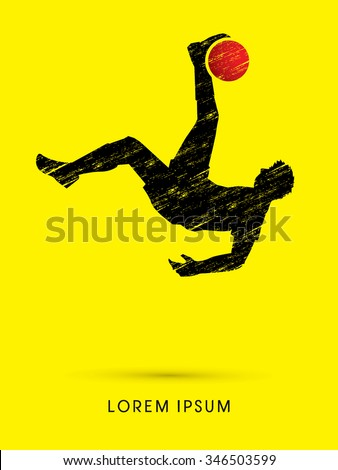 Soccer player hit the ball, Bicycle Kick designed using grunge brush graphic vector. - stock vector