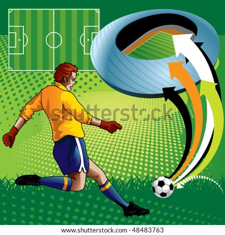 Soccer Player in Stadium - stock vector