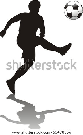 soccer player isolated o withe - stock vector
