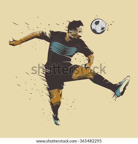 soccer player jumping color ink splash design - stock vector