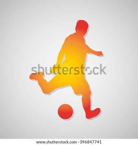 Soccer  player kicking ball icon. Vector Illustration - stock vector