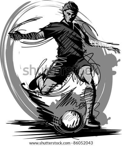Soccer Player Kicking Ball Vector Illustration - stock vector