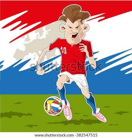 Soccer player kicking the ball with determination. - stock vector