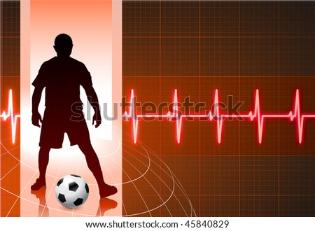 Soccer Player on Red Wire Frame Background Original Vector Illustration - stock vector