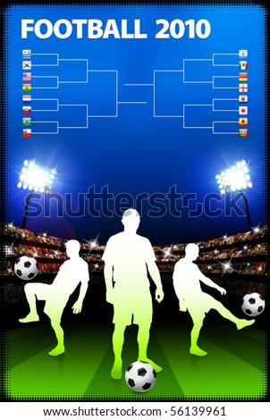 Soccer Player on Stadium Background with Bracket Original Illustration - stock vector