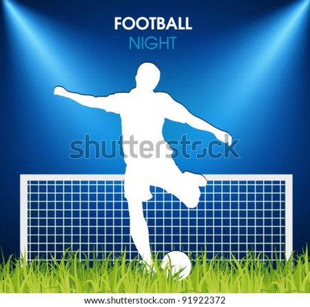 soccer player on the grass in the spotlight - stock vector