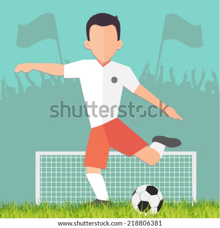 soccer player on the stadium - flat design vector - stock vector