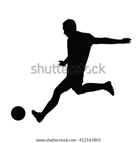 Soccer player playing with ball. Vector isolated silhouette. Footballer kicking