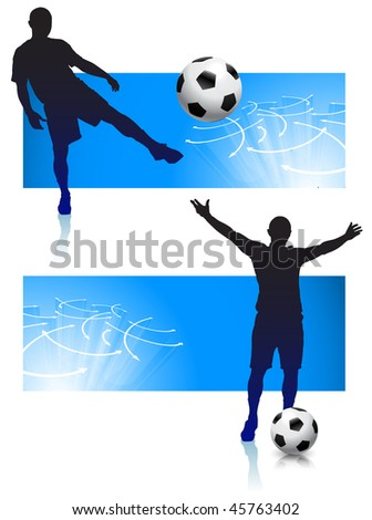 Soccer Player Set with Blue Frame Original Vector Illustration