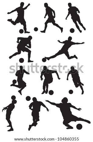 soccer player silhouette - stock vector