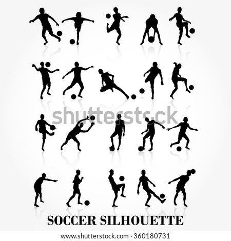 Soccer player silhouette collection - stock vector