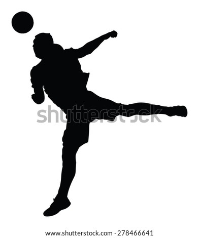 Soccer player silhouette vector isolated on white background. High detailed football player silhouette cutout outlines.