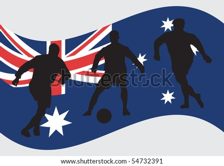 Soccer player silhouettes in front of Australian flag
