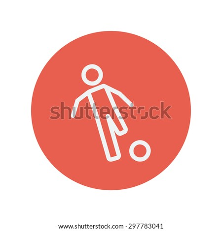 Soccer player to kick the ball thin line icon for web and mobile minimalistic flat design. Vector white icon inside the red circle. - stock vector