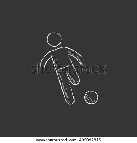Soccer player with ball. Drawn in chalk icon. - stock vector