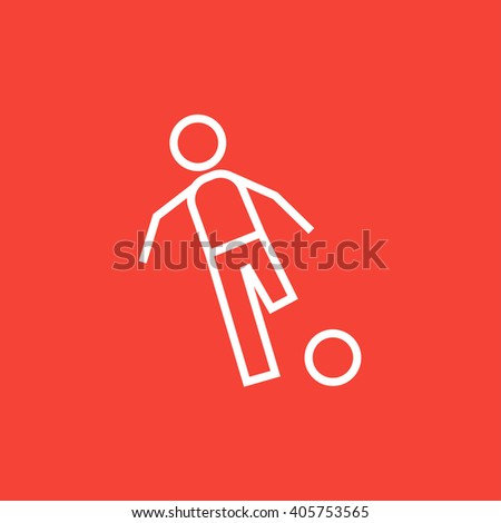 Soccer player with ball line icon. - stock vector