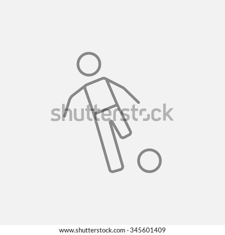 Soccer player with ball line icon for web, mobile and infographics. Vector dark grey icon isolated on light grey background. - stock vector