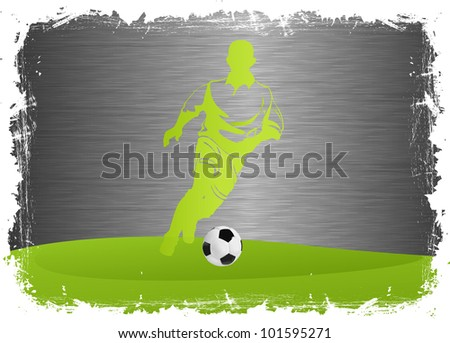 Soccer Player with ball on steel background - stock vector