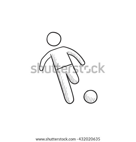 Soccer player with ball vector sketch icon isolated on background. Hand drawn Soccer player with ball icon. Soccer player with ball sketch icon for infographic, website or app. - stock vector