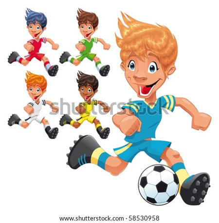 Soccer Players. Cartoon and vector sport characters. - stock vector