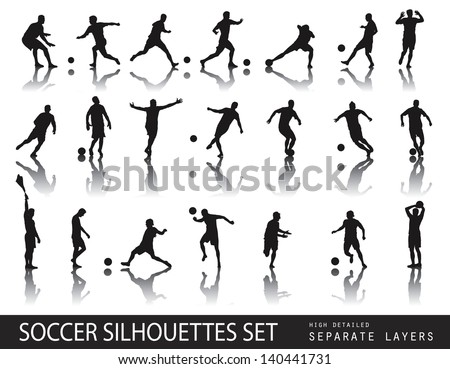 Soccer players detailed vector silhouettes set. Sports design - stock vector