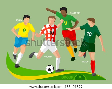 Soccer players Group A, illustration vector design. - stock vector