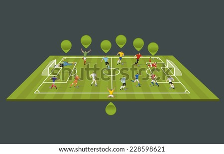 Soccer players kicking ball on the field. Football players. - stock vector