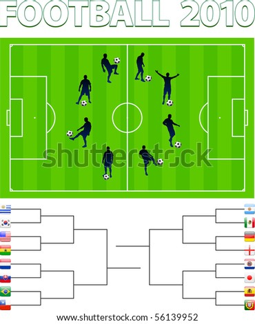 Soccer Players on Field with Flag Bracket Original Illustration - stock vector