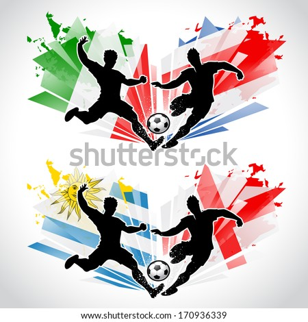 Soccer players representing different countries - stock vector