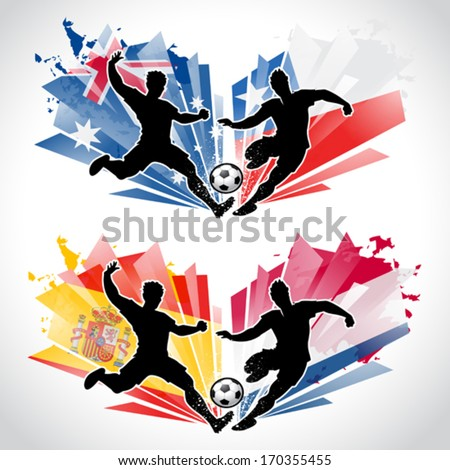 Soccer players representing different countries while tackling a ball