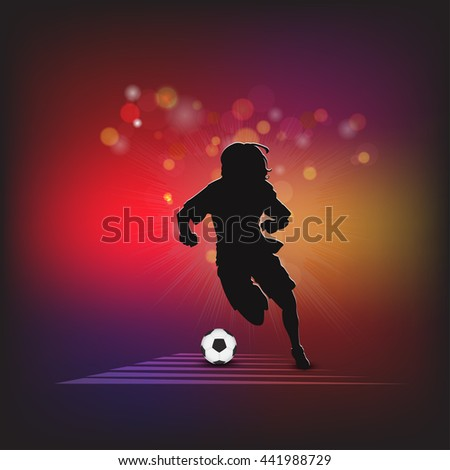 Soccer players silhouette with ball isolated