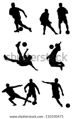 Soccer players silhouettes.Football players silhouettes.