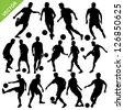 Soccer players silhouettes vector - stock photo