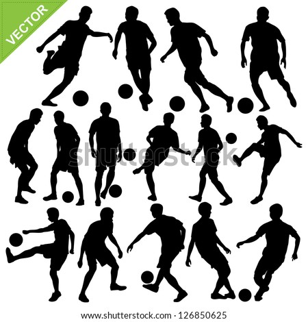 Soccer players silhouettes vector - stock vector