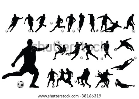 soccer players vector - stock vector