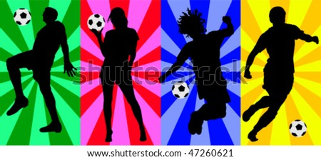 soccer players vector silhouettes - stock vector
