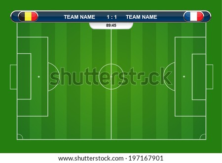 soccer playing field with statistics elements. Vector illustration.  - stock vector