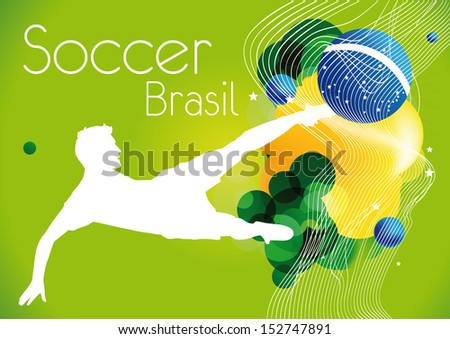 soccer poster brasil - stock vector